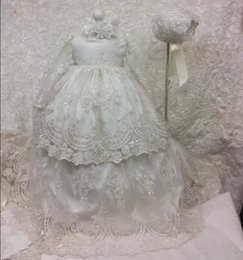Wholesale Baptism Dresses Long Sleeves - 2017 Long Christening Dresses For Baby Girl With Long Sleeves Baptism Gown Sequined Tulle Lace Appliqued Kid First Communication Dress