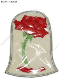 """Wholesale Enchanted Rose Beast - 6"""" Beauty and The Beast Enchanted Rose in Dome LARGE FELT Applique Patch Iron On TV Moive series shirt tranfer girl kids"""