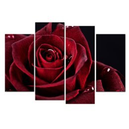 Wholesale Rose Wall Art - Wall Decor Canvas Painting 4 Piece Canvas Art Red Rose Digital Picture Home Pieces Modular Picture for Bedroom Dropship
