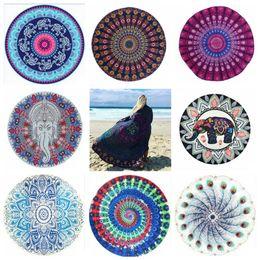 Wholesale Wholesale Beach Wraps - Round Mandala Beach Towels 39 Styles Chiffon Printed Hippy Boho Tablecloth Bohemian Beach Towel Covers Beach Shawl Wrap Yoga Mat OOA2268