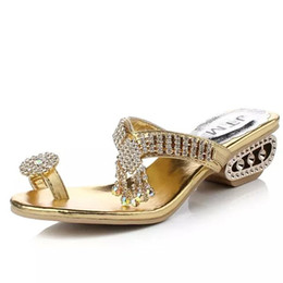 Wholesale Wholesale High Heel Slippers - Wholesale- free shipping 2016 women Sandals Summer Slippers Party Chunky High Heels Female Rhinestone Gold silver ladies Shoes