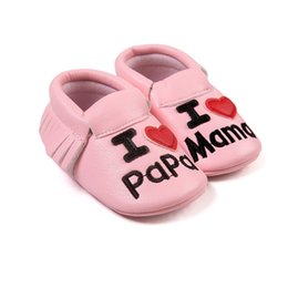 Wholesale Baby Firstwalker - Wholesale- Toldder Baby Shoes Leather Slip on Shallow Letter Pint Princess Shoes Infant Anti-slip Firstwalker Crib Shoes 0-18M