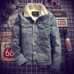 Wholesale Men Denim Winter Jackets - Mens Denim Jeans Jacket Coat Warm Fur Lined Lapel Collar Winter Western Cowboy Peacoats Motorcycle Outwear 2Colors Coats