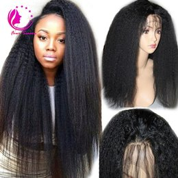 Wholesale Silk Top Kinky Lace Wigs - 150 Density Kinky Straight Full Lace Wig Silk Top 4X4 Malaysian Human Hair Coarse Yaki Silk Base Glueless Lace Front Wigs Natural Hairline