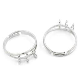 Wholesale Silver Tone Blank Rings - 10PCs Adjustable Rings Base Blank Settings 6 Holes 17.1mm US 6.75 Silver Tone Fine Jewelry Findings & Components For Women Men