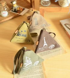 Wholesale Letter Beads Pack - Creative Collection Coin Purse Triangle Small Coin Pack Youth Canvas Coin Purse Tide 17061314
