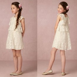 Wholesale Kids White Casual Wedding Dress - 2017 New Flower Girls Dresses Baby Tiers Ruffles Cute Lace Square Neck Bow Cap Sleeves Cheap Lovely Short Kids Summer Gowns Casual Dresses