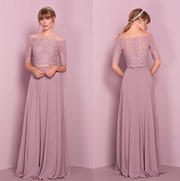 Wholesale Holiday Bridesmaid Dresses - 2017 New Two Pieces Bridesmaid Dresses A Line Off Shoulder Lace Appliques Top Long Summer Wedding Guest Gowns Prom Evening Holiday Dresses