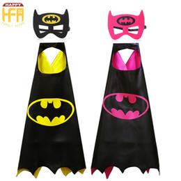 Wholesale Cartoon Hero Costumes - 70*70Cm Halloween Costumes Cape Clothing Comics Super Hero Batman Cartoon Capes Cute Costumes For Kids Halloween Party Decoration 2 Colors