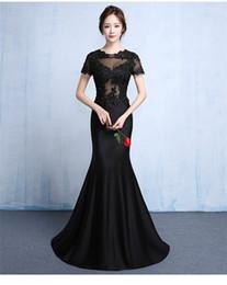 Wholesale Corporate Black - Evening dress long new fashion black temperament elegant fish tail thin corporate annual meeting banquet dress female
