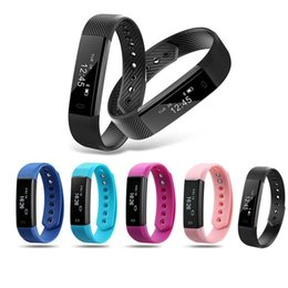 Wholesale Monitor Alarms - Hot Sell ID115 Fit Smart Bracelet Fitness Tracker Tracking Step Counter Activity Monitor Band Alarm Clock ID115Lite Smart Wristbands