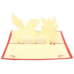 Wholesale Origami 3d Cards - Wholesale-2pcs Kirigami Origami Greeting Invitations Cards 3D Handmade Yellow House Wings Pop UP Birthday Wedding Decoration Gifts