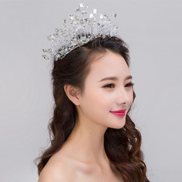 Wholesale Blue Hair Fascinators - Wedding Bridal Bridesmaid exquisite handmade Crystal Drill Soft Crown Wedding Headdress Beautiful Bridal Hair Jewelry Accessories 2018