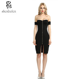 Wholesale Xl Tight Black Dress - bodycon dresses 2017 Sexy Party Off Shoulder Black Front Zip and Slit Tight Wrap Dress vestido de festa curto