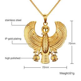 Joyería de la mosca online-Collares de los hombres de Beichong Placa de oro Halcón egipcio del pájaro de Horus del vuelo que sostiene el colgante de Ankh Collar de la vendimia de la joyería del traje de Hip Hop de la manera