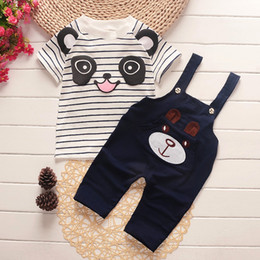 Wholesale Toddler Striped Shirt - 2017 korean style toddlers infant boys girl clothing set summer cartoon cute bear striped t-shirt+suspender pants 2 pcs