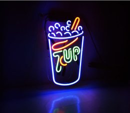 Wholesale Commercial Milk - Fashion New Handcraft Neon sign 7up Milk Tea Real Glass Tubes For Bedroom Home Display neon Lighht sign 14x7