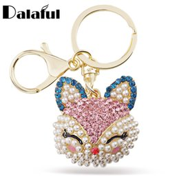 Wholesale Fox Pearl - beijia Lucky Smile Fox Crystal Imitation Pearl Keyring Keychains For Car HandBag Pendant Party Gift Key Chains Holder K216