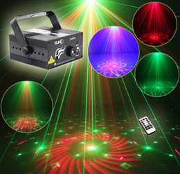 Wholesale Red Blue Led Strobe - Suny RG 3 Lens 40 Patterns Mini Laser Projector Stage Light Blue LED Stage Lighting With Remote Control Show Disco DJ Party Lights Z40RG