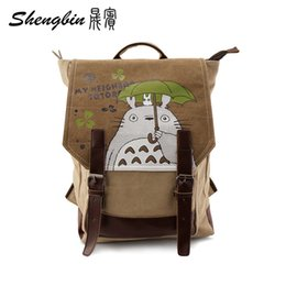 Wholesale Totoro Canvas - Wholesale- Anime Manga My Neighbor TOTORO Backpack Canvas +Leather Shoulders Bag Children Schoolbags Men And Women Canvas Printing Backpack