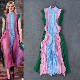 Chalecos con paneles online-2017 Runway vestido plisado cuello redondo de una línea tobillo longitud sin mangas con paneles chaleco dress mujeres dress m82
