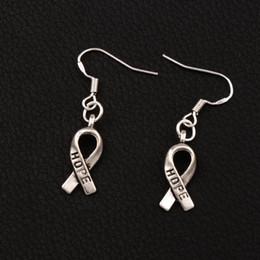 Wholesale earrings faces - Hope Ribbon Earrings 925 Silver Fish Ear Hook E088 7.7x36mm 50pairs lot Tibetan Silver Chandelier