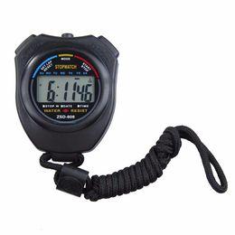 Wholesale Handheld Digital Chronograph - 2017 New Sports Stopwatch Professional Handheld Digital LCD Sports Stopwatch Chronograph Counter Timer with Strap DHL FEDEX Free
