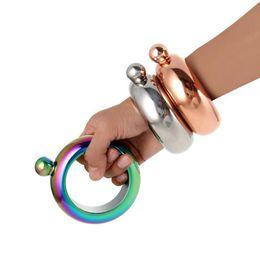Wholesale Mini Bracelets - 3.5oz Stainless Steel Jug Bracelet Alcohol Hip Flasks Funnel Bangle Bracelet Jewelry Gift Funnel Bangle 50pcs OOA2107