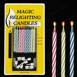 Wholesale Holiday Christmas Wreaths - Magic Funny Relighting candle Joke Birthday Party Candles Cake Accessory Christmas Festive Holiday Wedding supplies favors