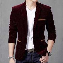 Wholesale Red Corduroy Jacket - Wholesale- New Brand Men's Casual Blazer One Button Corduroy Slim Fit Fashion Blazer Jacket Men Brown Blue Wine Red