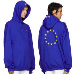 Wholesale Union Cotton - Unisex Winter Autumn Euro Fashion Vetements Oversized Embroidery European Union Hip Hop Hooded Haute Couture Sweatshirts Long Sleeve Hoodie