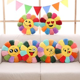 Wholesale Round Seat Pillow - Outdoor Sport Emoji Cartoon Throw Pillow Sunflower Laugh Emoticon Pillows Upholstered Cushion Chair Cushions Seat Cushion Round