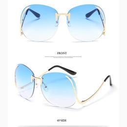 Wholesale Wholesale Steampunk Glasses - Wholesale- Steampunk Frameless Sunglasses Women Vintage Color Gradient Women Men Rimless Sun Glasses Metal Female 2017 UV400 Oculos Eyewea
