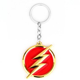 Wholesale Metal Men Movie - Movie Jewelry DC Comics The Flash lightning keychain red gold logo 6cm Metal Keychain Keyring gift key chain