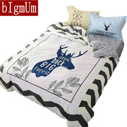 Wholesale Bedding Sets For Girls Cartoons - 4pcs Bedding Sets for Kids Children Cartoon Bedding Set for Girls&Boys 100%Cotton Eco-friendly Printed Creative Design Reindeer