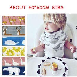 Wholesale Muslin Bibs - Aden Anais Swaddle Animal Cartoon Bibs Baby Cotton Muslin BathTowel Bamboo Anais Burp Cloths 9colors 60CM*60CM 24*24inch C2961