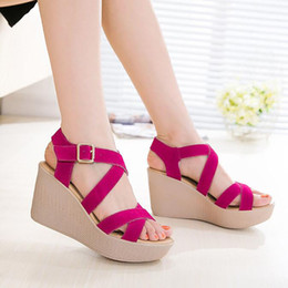 Wholesale Platform T Strap - Hot Sale Women Sandals 2017 Summer New Open Toe Fish Head Fashion platform High Heels Wedge Sandals female shoes women shoes