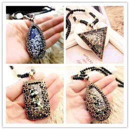 Wholesale Heart Necklaces For Cheap - Crystal Shell Opal Stone Long Sweater Chain Necklace Accessories Cheap Retro Pendant Decorative For Women Girl Jewelry