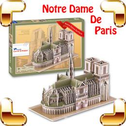 Wholesale 3d Famous Architecture - New Year Gift Notre Dame Cathedral 3D Puzzle Paris Gothic Architecture Famous Structure Model Building Toy Kids Easy DIY