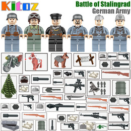 Wholesale German Cities - Kitoz Military Series WW2 Battle of Stalingrad German Army City Assault Mini Soldier Doll Building Blocks MOC Toy Gift for Boy