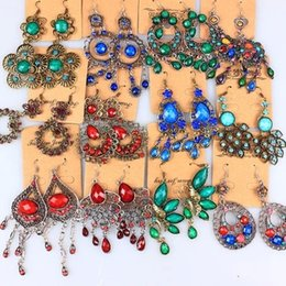 Wholesale Earrings Long Retro - Bohemia folk style earrings long tassel retro diamond earrings and alloy
