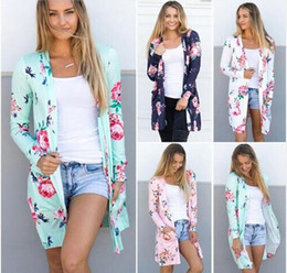 Wholesale Ruffle Sweater Coat - Floral Cardigan Fashion Sweater Coats Women Outwear Loose Jacket Vintage Tops Casual Blouse Pullover Jumper Women's Clothing