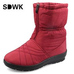Wholesale Cube Shoes - Wholesale-Plus Size Waterproof Flexible Cube Woman Boots High Quality Cozy Warm Fur Inside Snow Boots Winter Shoes Woman B264