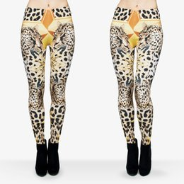Wholesale Girls Leopard Print Tights - Women Leggings Cheetah Leopard Star 3D Graphic Print Girl Skinny Stretchy Yoga Wear Pants Workout Full Length Tight Capris Trousers (J29726)