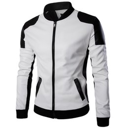 Wholesale Matches Leather Jackets - Wholesale- top quality fashion men white leather jackets and coats pu match color overcoat M-5XL AYG94