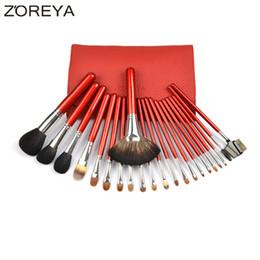 Wholesale Sable Brush Sets - Zoreya Brand 22pcs Sable Hair Professional Makeup Brush Set High Quality Make Up Brushes Fan Powder Eyeshadow Makeup Brushes 2017