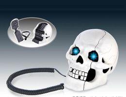Wholesale Skull Shape Telephone - Wholesale-Free Shipping 1 Piece Skull Shaped Corded Telephone Skull Phone with Flashing Eyes Black color
