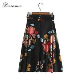 Wholesale Bohemia High Waist Skirt - DOSOMA Women Pleated Skirts High Waist Lace-Up Floral Print Pleated Skirt Zipper Flared Skirt Bohemia Style Summer Beach Falda