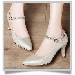 Wholesale Gold Black Sandal Heels - 2017 Women summer Heels leather Sandals