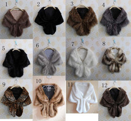 Wholesale Elegant Winter Scarf Woman - Fashion Elegant Bridal Wedding Faux Fur Long pashmina Stole Wrap Shrug Scarf winter women neckerchief Fake fur shawl muffler